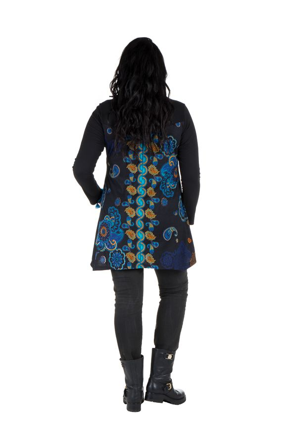 Tunique grande taille à manches longues Noire imprimée avec col rond Léda
