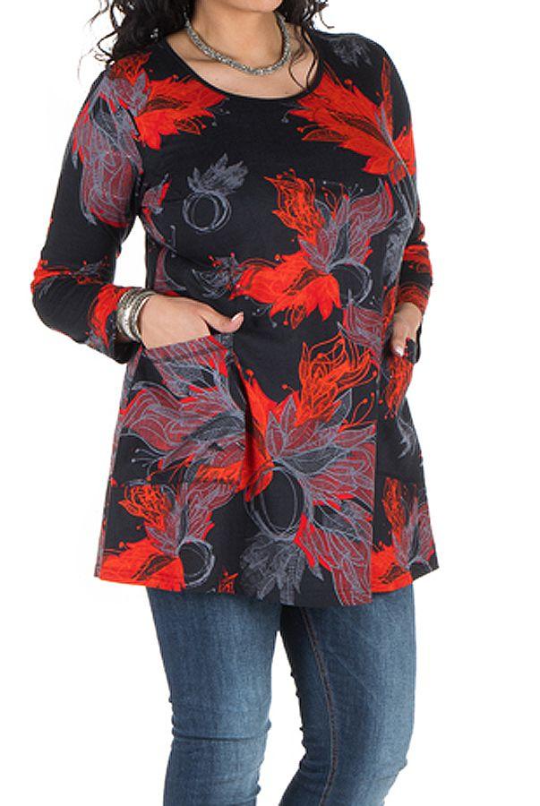 Tunique grande taille à manches longues Noire originale à poches Tara 300778
