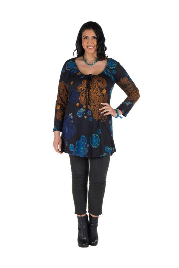 Tunique grande taille à manches longues Noire originale avec son charmant col noué Willow 300173