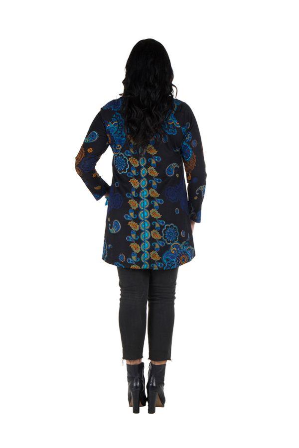 Tunique grande taille à manches longues Noire originale avec son charmant col noué Willow