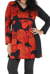 Tunique grande taille à manches longues Orange avec motifs tendances et col en V Magda 300474