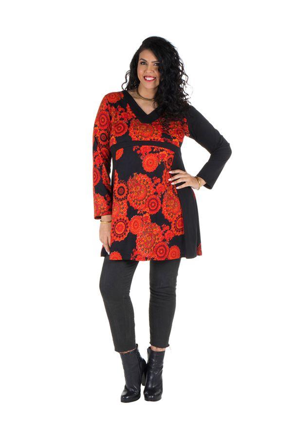 Tunique grande taille à manches longues Orange avec motifs tendances et col en V Magda 300475