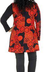 Tunique grande taille à manches longues Orange avec motifs tendances et col en V Magda 300476