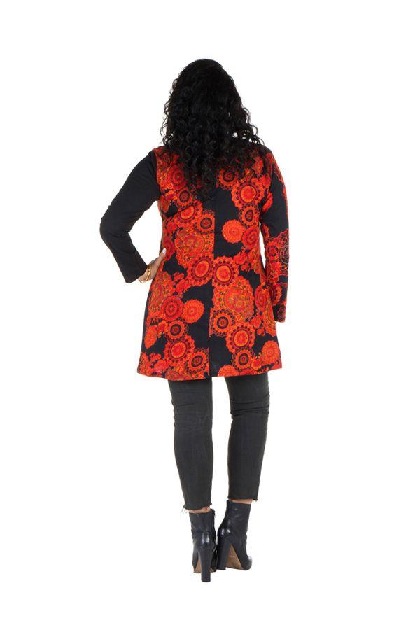 Tunique grande taille à manches longues Orange avec motifs tendances et col en V Magda