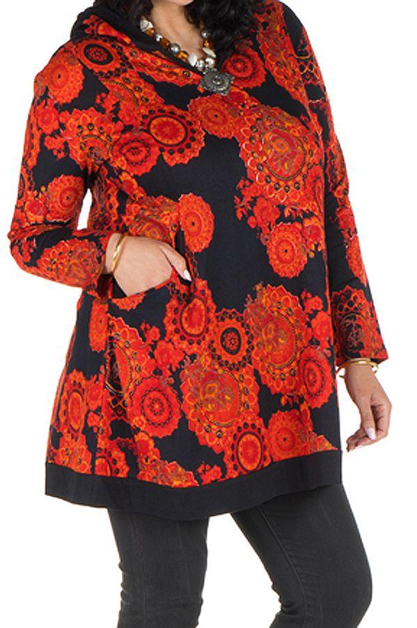 Tunique grande taille à manches longues Orange colorée avec capuche Flavie 300738