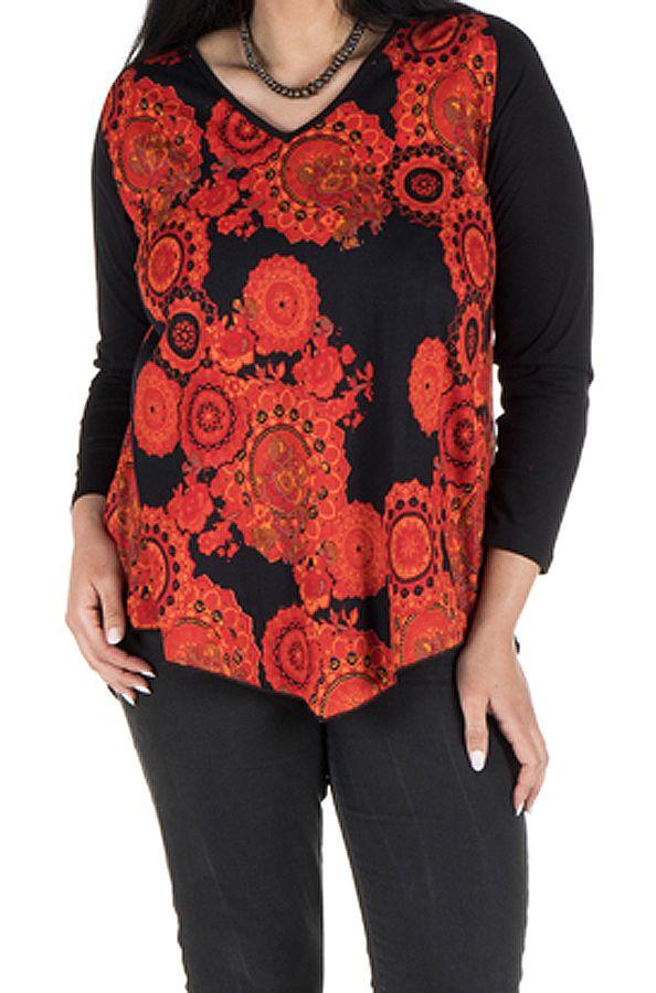 Tunique grande taille à manches longues Orange féminine avec col en V  Chiara 300346