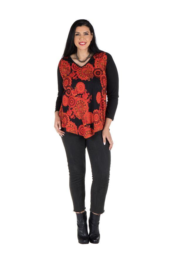 Tunique grande taille à manches longues Orange féminine avec col en V  Chiara 300347