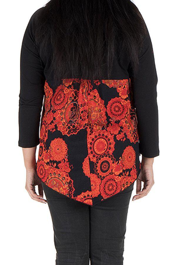 Tunique grande taille à manches longues Orange féminine avec col en V  Chiara 300348