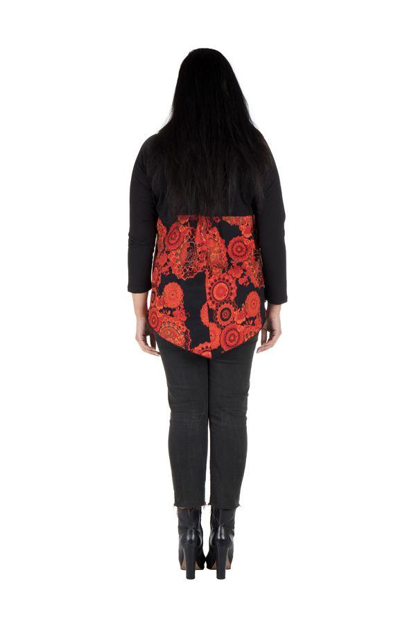 Tunique grande taille à manches longues Orange féminine avec col en V  Chiara