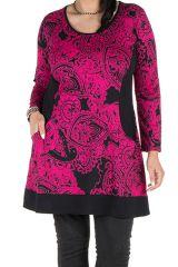 Tunique grande taille à manches longues Rose tendance avec motifs et poches Aaron 300338