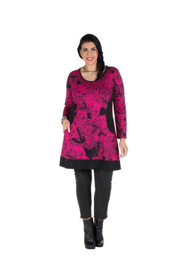 Tunique grande taille à manches longues Rose tendance avec motifs et poches Aaron 300339