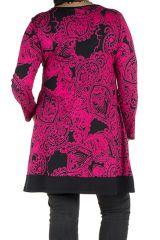 Tunique grande taille à manches longues Rose tendance avec motifs et poches Aaron 300340