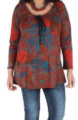 Tunique grande taille à manches longues Rouge avec motifs originaux et joli noeud Rozy 300130