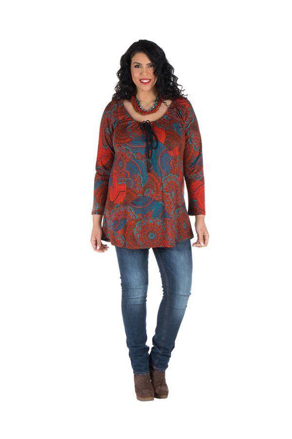 Tunique grande taille à manches longues Rouge avec motifs originaux et joli noeud Rozy 300131