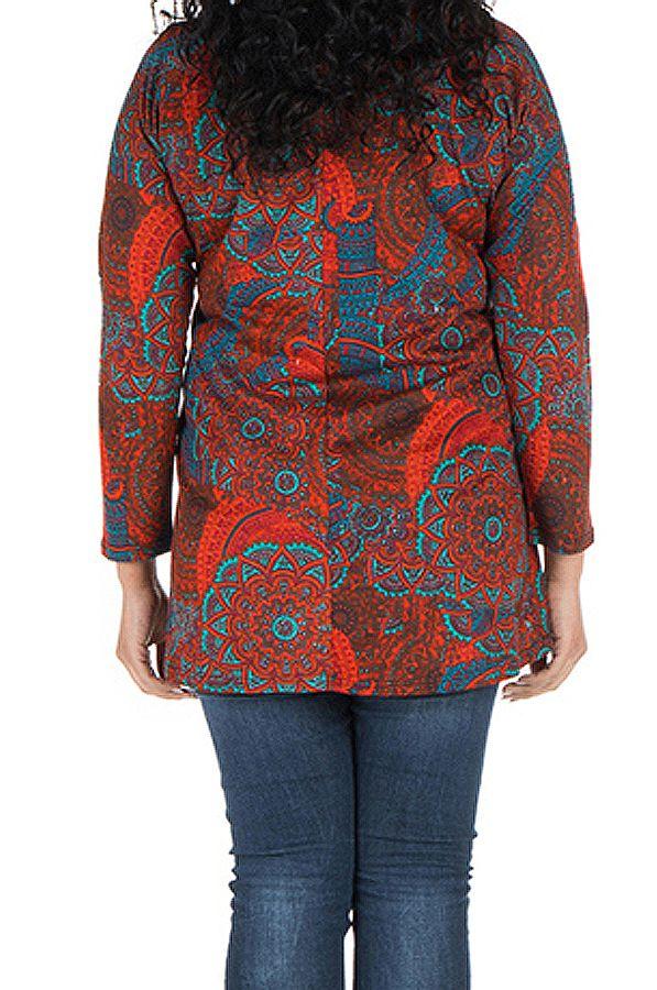 Tunique grande taille à manches longues Rouge avec motifs originaux et joli noeud Rozy 300132