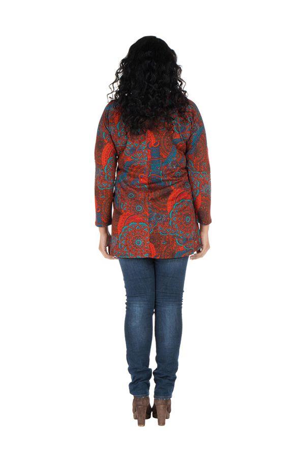 Tunique grande taille à manches longues Rouge avec motifs originaux et joli noeud Rozy