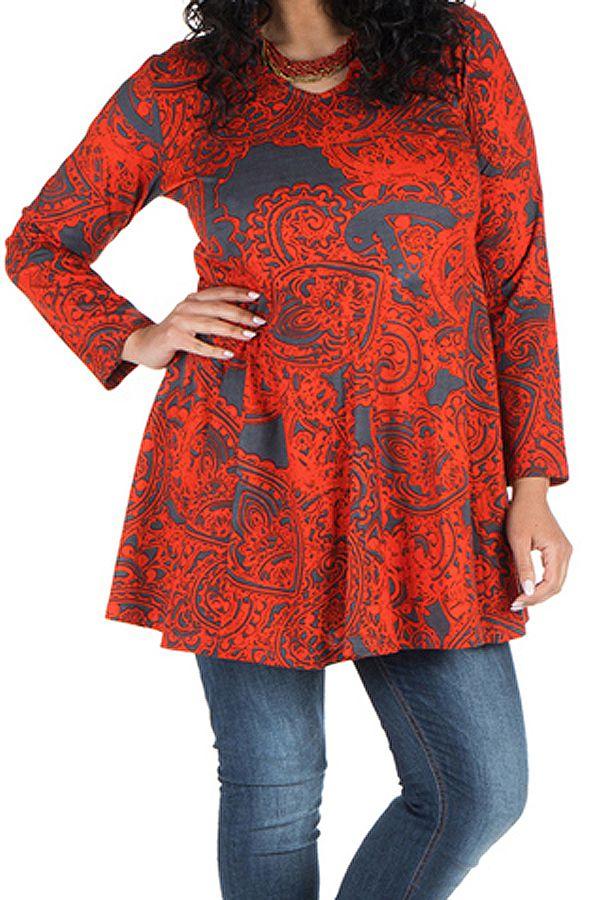 Tunique grande taille à manches longues Rouge évasée et imprimée Kimmy 300096