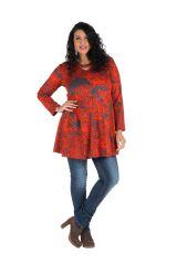 Tunique grande taille à manches longues Rouge évasée et imprimée Kimmy 300097