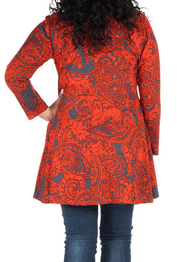 Tunique grande taille à manches longues Rouge évasée et imprimée Kimmy 300098