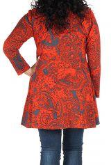 Tunique grande taille à manches longues Rouge évasée et imprimée Kimmy 300099