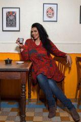 Tunique grande taille à manches longues Rouge évasée et imprimée Kimmy 300100