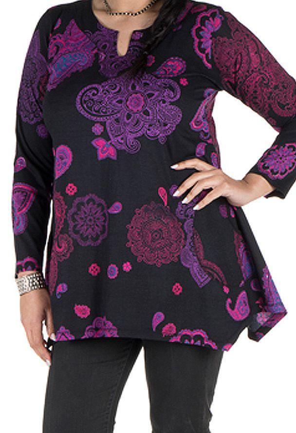 Tunique grande taille à manches longues Violette féminine avec col original Elsa 300196