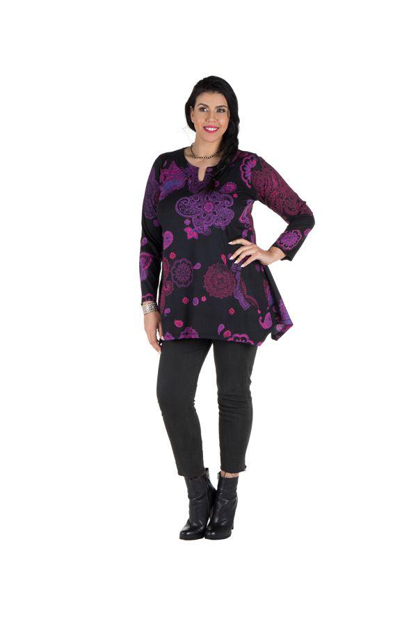 Tunique grande taille à manches longues Violette féminine avec col original Elsa 300197