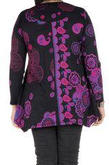 Tunique grande taille à manches longues Violette féminine avec col original Elsa 300198