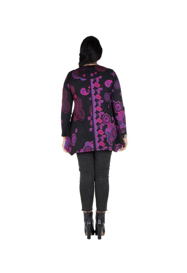 Tunique grande taille à manches longues Violette féminine avec col original Elsa 300199