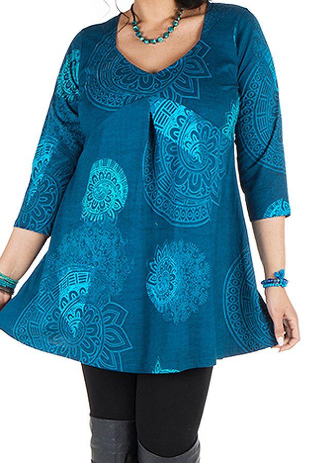 Tunique grande taille à manches trois quarts Bleue avec col original et motifs mandala Jenal 300432
