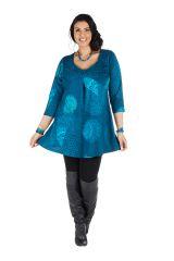 Tunique grande taille à manches trois quarts Bleue avec col original et motifs mandala Jenal 300433