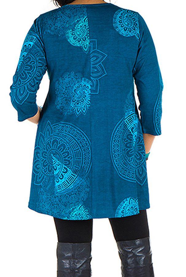 Tunique grande taille à manches trois quarts Bleue avec col original et motifs mandala Jenal 300434