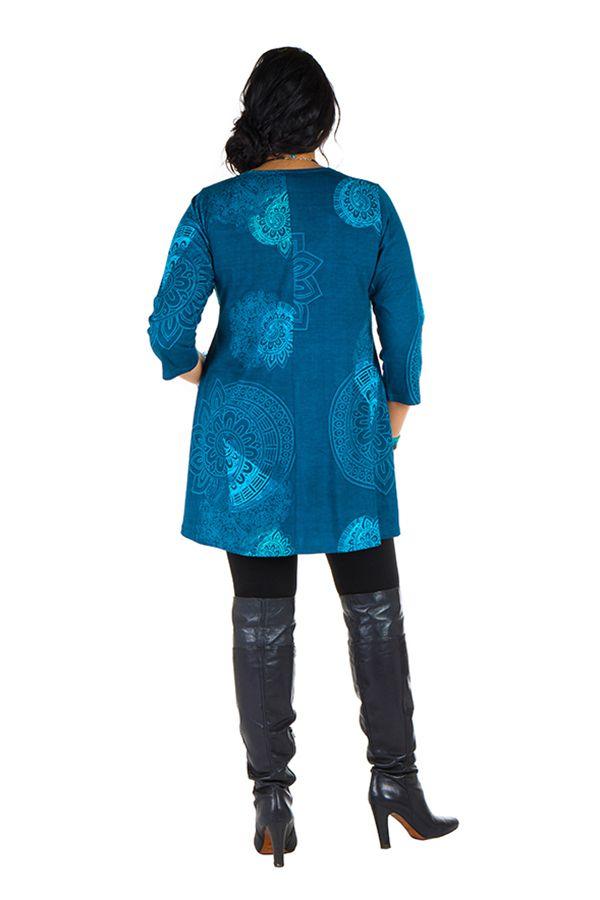 Tunique grande taille à manches trois quarts Bleue avec col original et motifs mandala Jenal