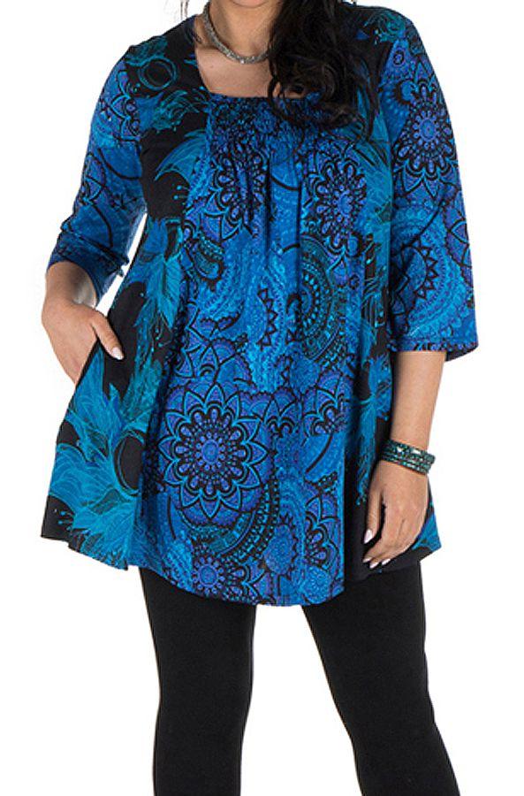 Tunique grande taille à manches trois quarts Bleue évasée et imprimée Lorenne 300522