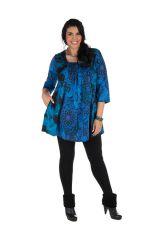 Tunique grande taille à manches trois quarts Bleue évasée et imprimée Lorenne 300523