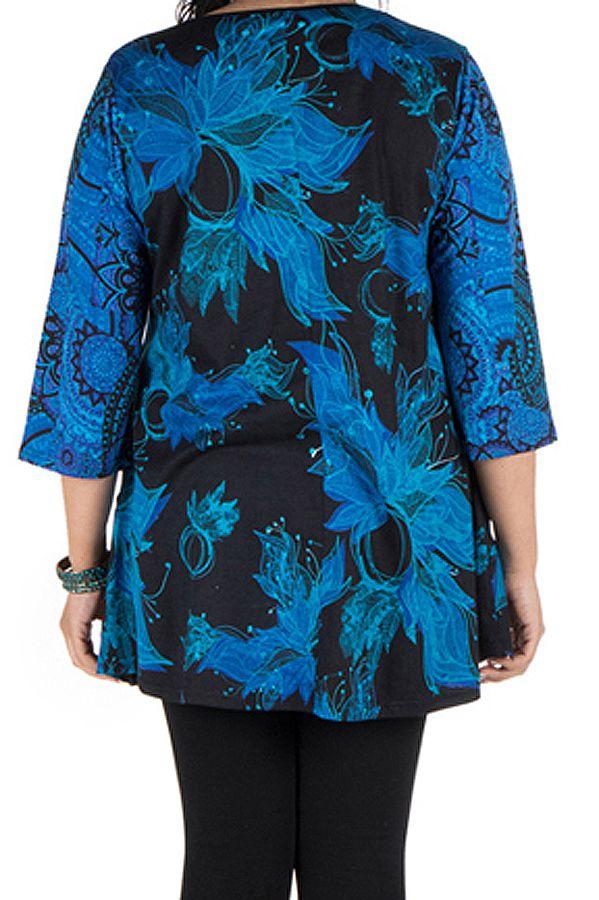 Tunique grande taille à manches trois quarts Bleue évasée et imprimée Lorenne 300524