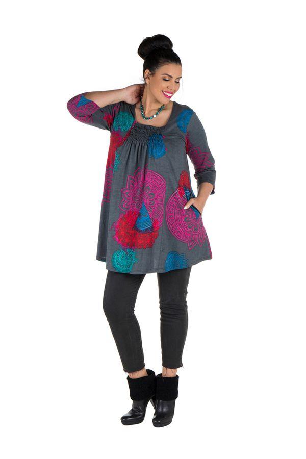 Tunique grande taille à manches trois quarts Grise avec motifs colorés et col smocké Liv 300558