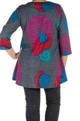 Tunique grande taille à manches trois quarts Grise avec motifs colorés et col smocké Liv 300560