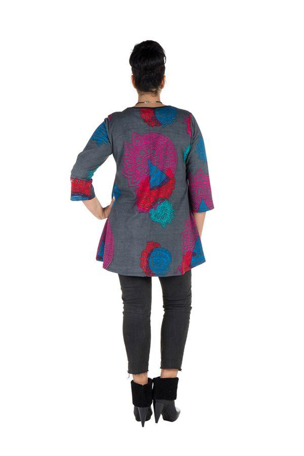 Tunique grande taille à manches trois quarts Grise avec motifs colorés et col smocké Liv 300561
