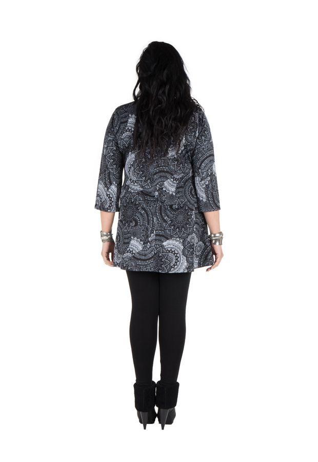 Tunique grande taille à manches trois quarts Grise féminine et imprimée style mandala Flavie