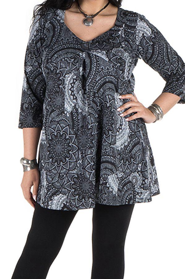 Tunique grande taille à manches trois quarts Grise féminine et imprimée style mandala Flavie 300388