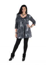 Tunique grande taille à manches trois quarts Grise féminine et imprimée style mandala Flavie 300389