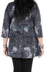 Tunique grande taille à manches trois quarts Grise féminine et imprimée style mandala Flavie 300390