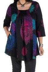 Tunique grande taille à manches trois quarts Noire avec imprimés colorés et col original Tahlia 300514