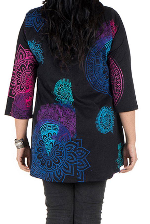 Tunique grande taille à manches trois quarts Noire avec imprimés colorés et col original Tahlia 300516
