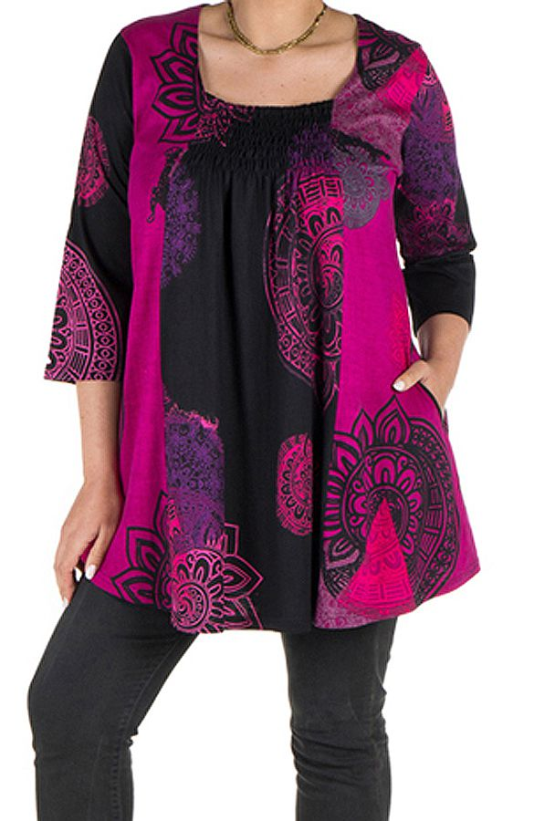 Tunique grande taille à manches trois quarts Rose avec motifs style mandala et col original Ellyn 300538