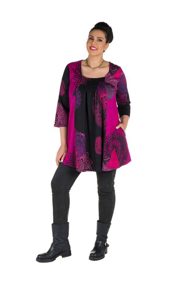 Tunique grande taille à manches trois quarts Rose avec motifs style mandala et col original Ellyn 300539