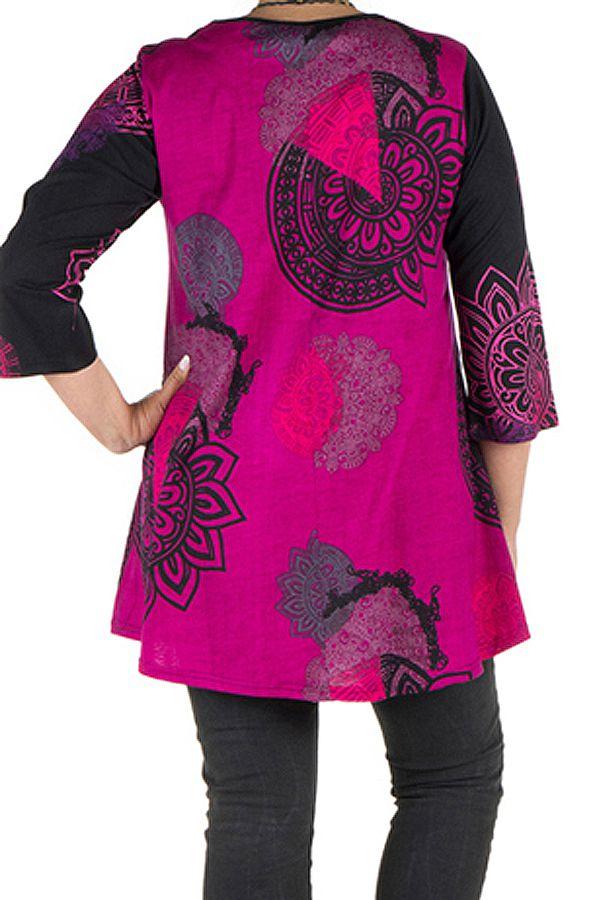 Tunique grande taille à manches trois quarts Rose avec motifs style mandala et col original Ellyn 300540