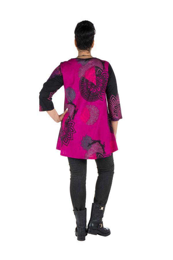 Tunique grande taille à manches trois quarts Rose avec motifs style mandala et col original Ellyn