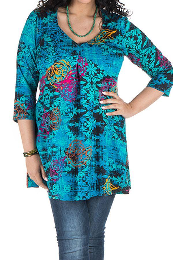 Tunique grande taille à manches trois quarts Turquoise féminine avec motifs originaux Hanaé 300412